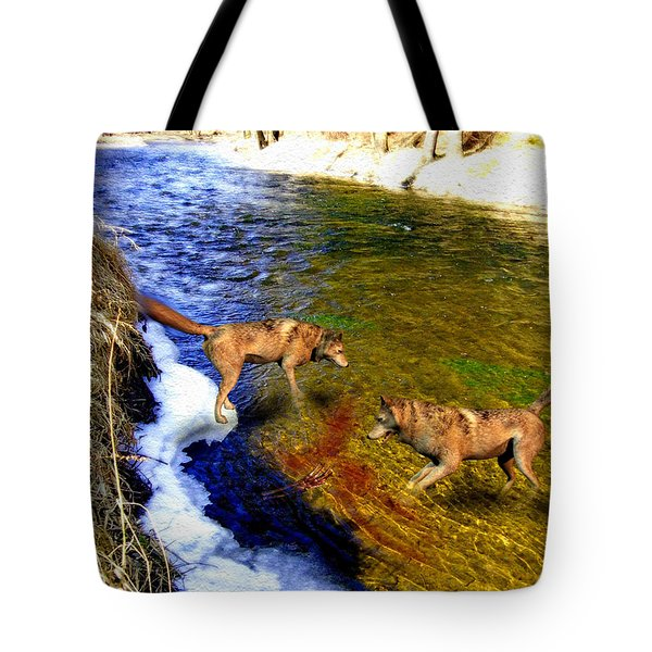 Tote Bag featuring the digital art Wolves by Daniel Janda