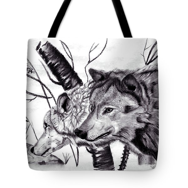Tote Bag featuring the drawing Wolves by Mayhem Mediums