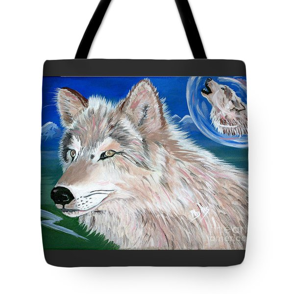 Tote Bag featuring the painting Wolves by Phyllis Kaltenbach