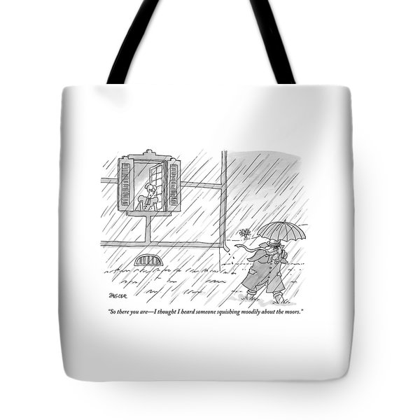 Woman Addresses A Man From The Window Of A House Tote Bag