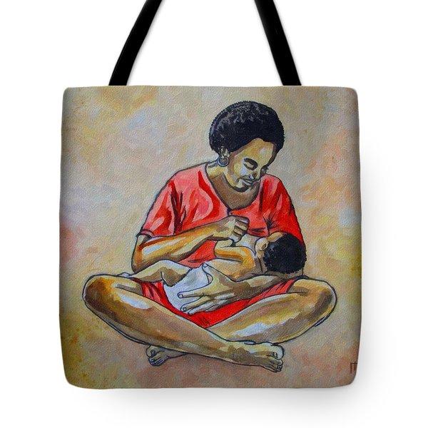 Tote Bag featuring the drawing Woman And Child by Anthony Mwangi