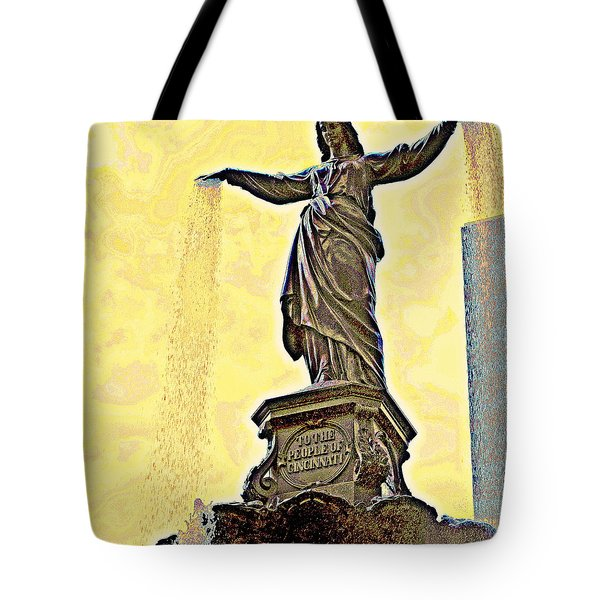 Woman And Flowing Water Sculpture At Fountain Square Tote Bag