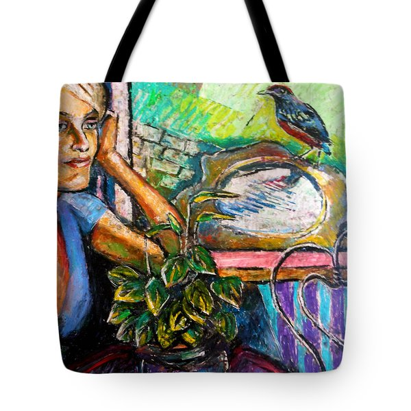 Woman And Robin Tote Bag