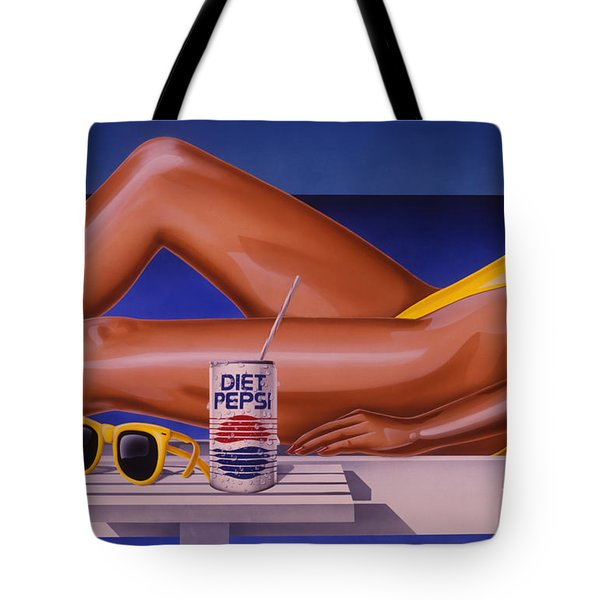 Woman At Beach With Diet Pepsi Tote Bag