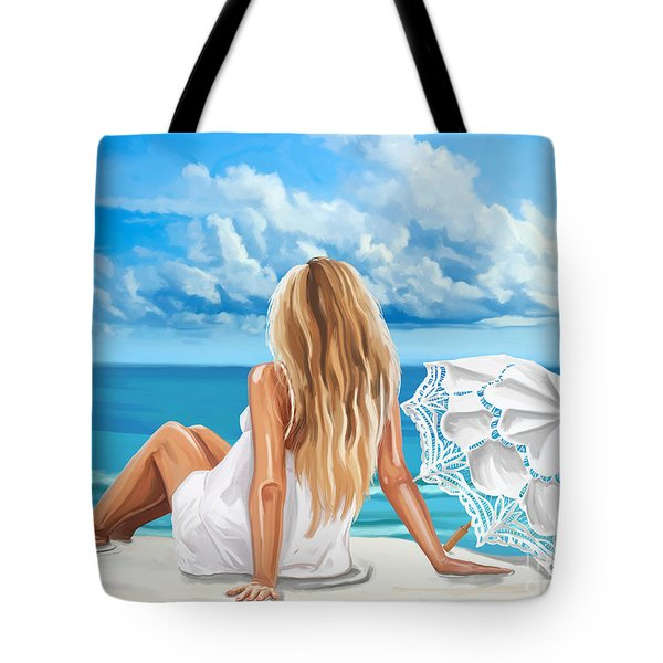 Woman At The Beach Tote Bag