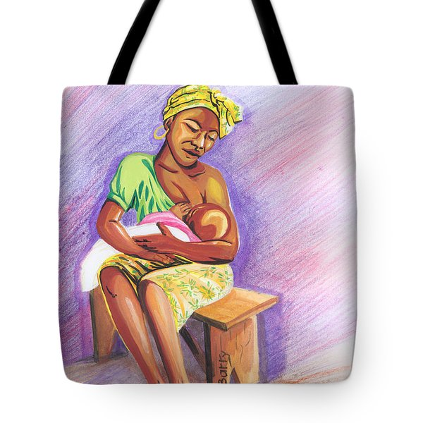 Woman Breastfeeding Bay In Rwanda Tote Bag