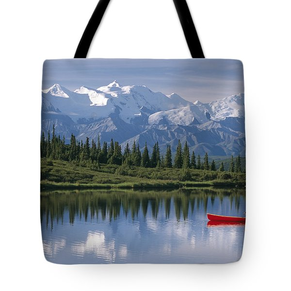 Woman Canoeing In Wonder Lake Alaska Tote Bag by Michael DeYoung