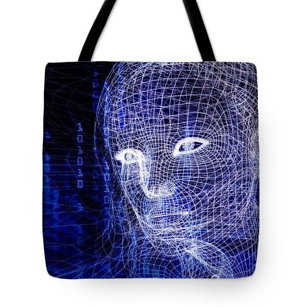 Woman Digital Face Conceptual 3d Illustration Tote Bag