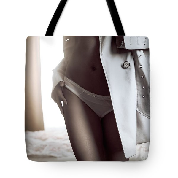 Woman Dressing Up And Leaving Bedroom Tote Bag