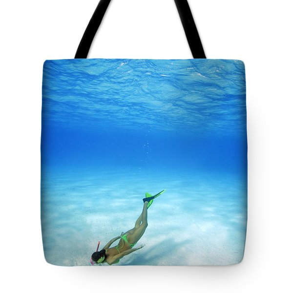 Woman Free Diving Tote Bag by M Swiet Productions