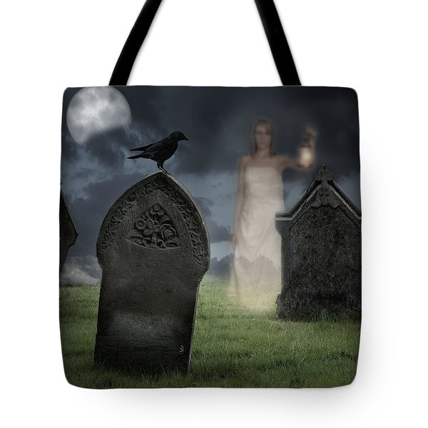 Woman Haunting Cemetery Tote Bag by Amanda Elwell