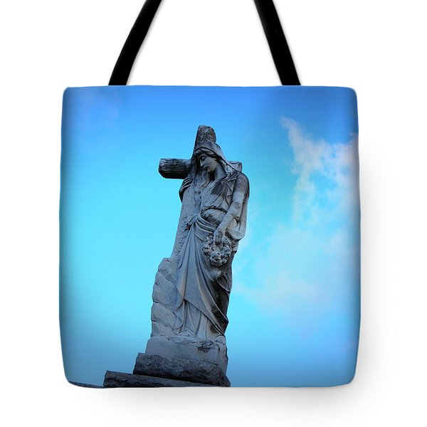 Woman Holding Cross Tote Bag by Beth Vincent