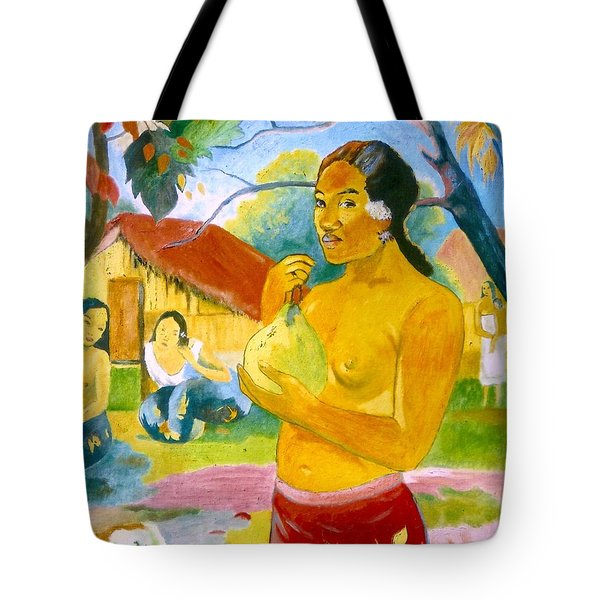 Woman Holding Fruit Tote Bag
