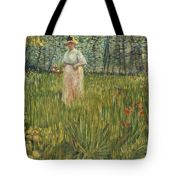 Woman In A Garden Tote Bag by Vincent van Gogh