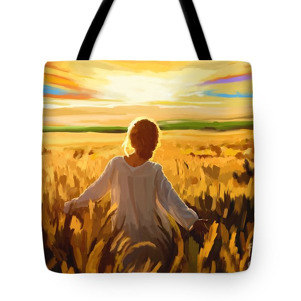 Woman In A Wheat Field Tote Bag