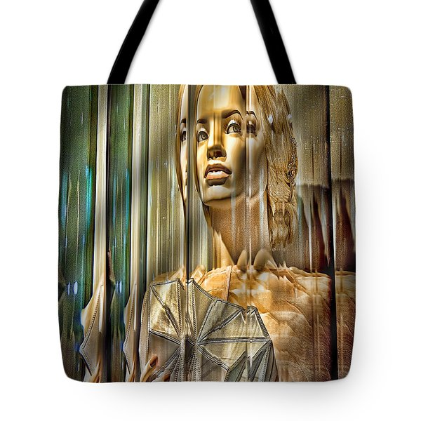 Woman In Glass Tote Bag