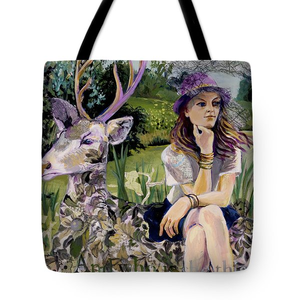 Woman In Hat Dreams With Stag Tote Bag