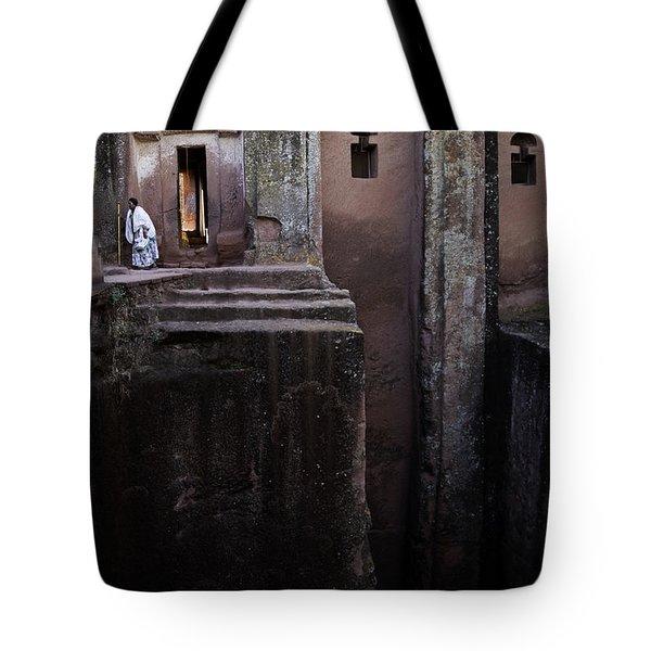 Woman In Lalibella Ethiopia Rock African Coptic Churches Tote Bag