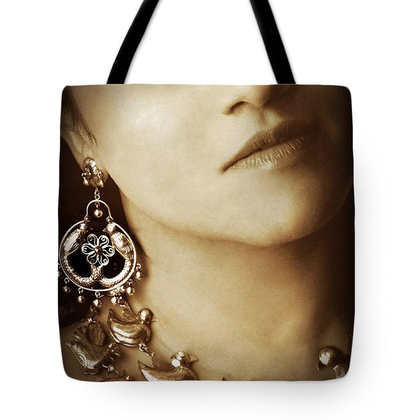 Tote Bag featuring the photograph Woman In Mexican Silver Jewelry by Jennifer Wright