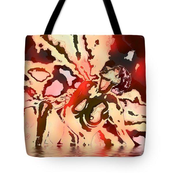 Woman In Red Tote Bag by Kurt Van Wagner
