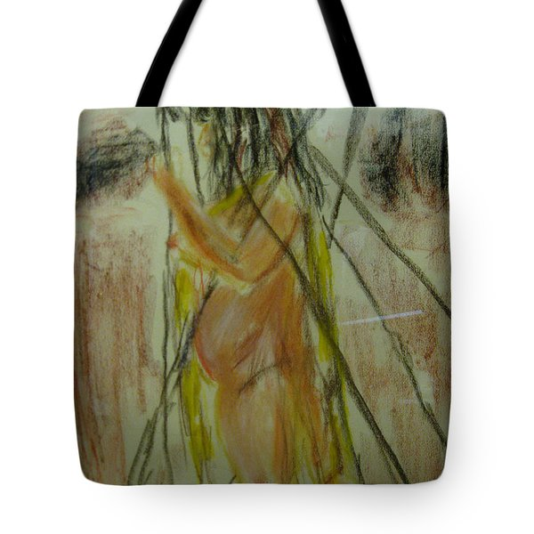 Woman In Sticks Tote Bag