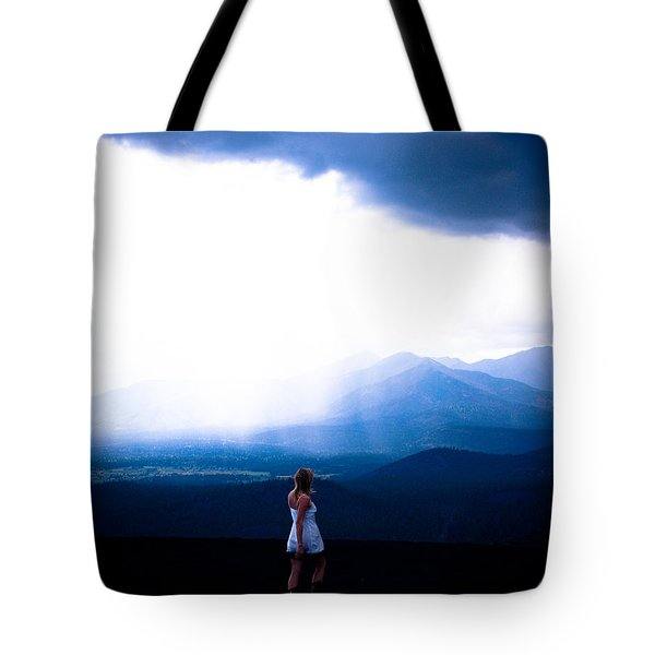 Woman In Storm Tote Bag by Scott Sawyer