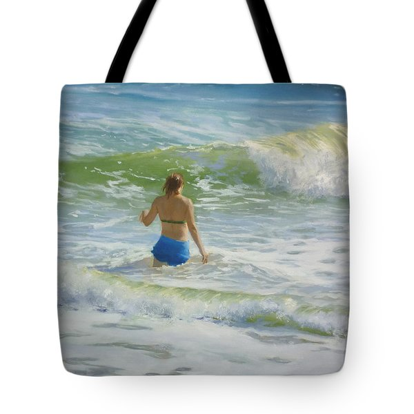 Woman In The Waves Tote Bag