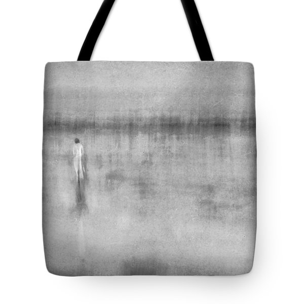 Woman In White At The Beach Tote Bag