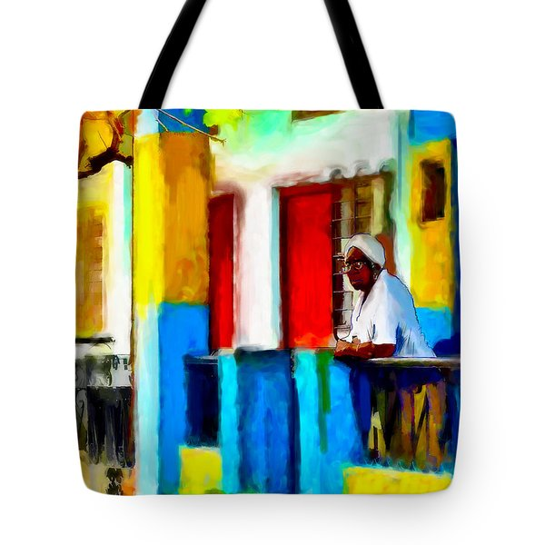 Woman On A Balcony Tote Bag
