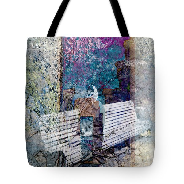 Tote Bag featuring the digital art Woman On A Bench by Cathy Anderson