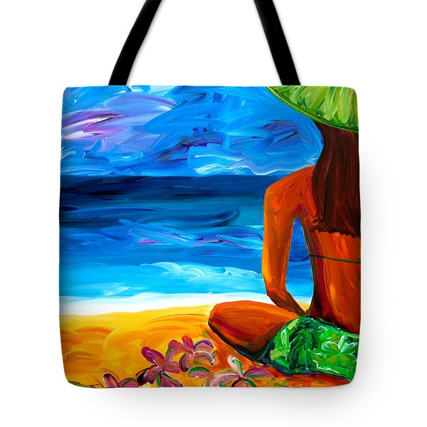 Woman On Beach Tote Bag by Beth Cooper