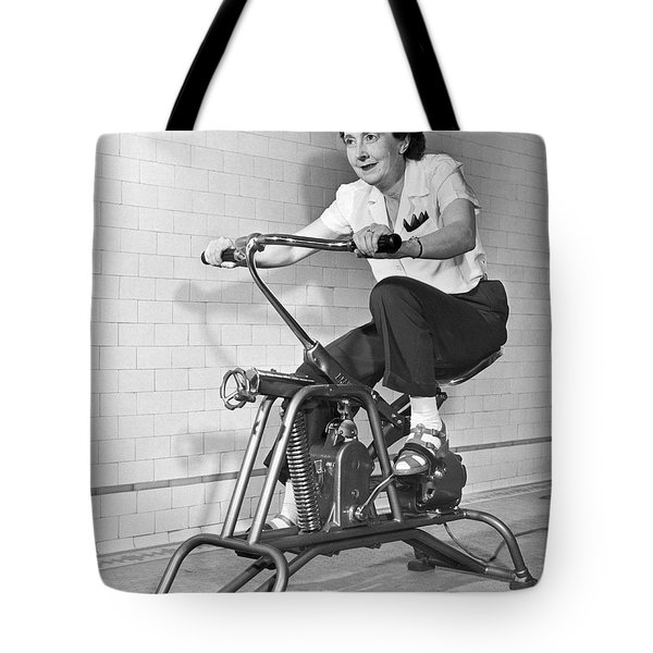 Woman On Exercycle Tote Bag