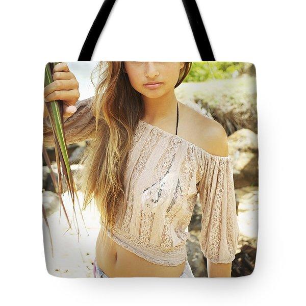 Woman On Hawaiian Beach Tote Bag by Kicka Witte
