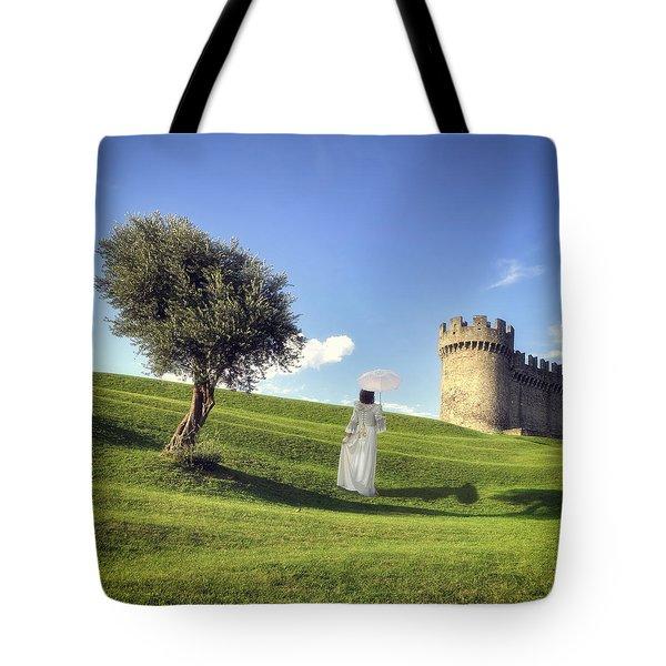 Woman On Meadow Tote Bag by Joana Kruse