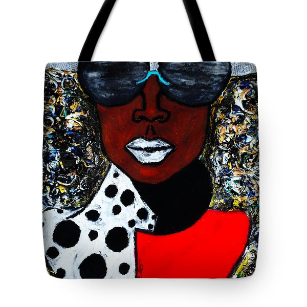 Tote Bag featuring the painting Woman On The Go by Tarra Louis-Charles
