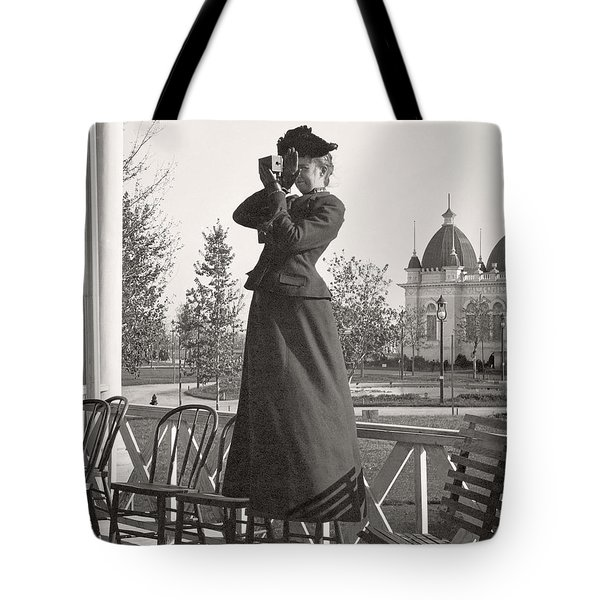 Tote Bag featuring the photograph Woman Photographer 1898 by Martin Konopacki Restoration