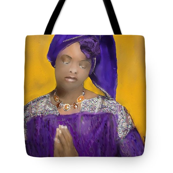 Tote Bag featuring the painting Woman Praying by Vannetta Ferguson