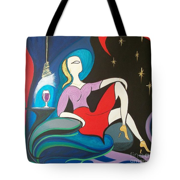 Woman Reclined In Chair Tote Bag