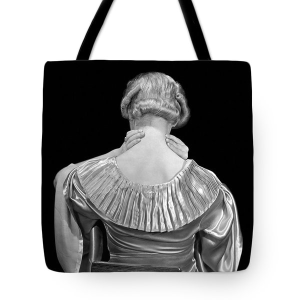 Woman Rubbing Her Neck Tote Bag