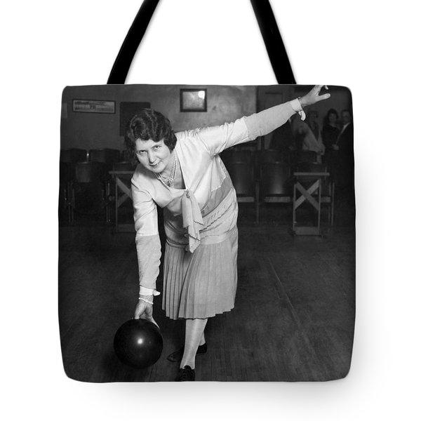 Woman Sets Bowling Record Tote Bag