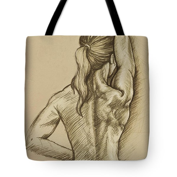 Tote Bag featuring the drawing Woman Sketch by Rob Corsetti
