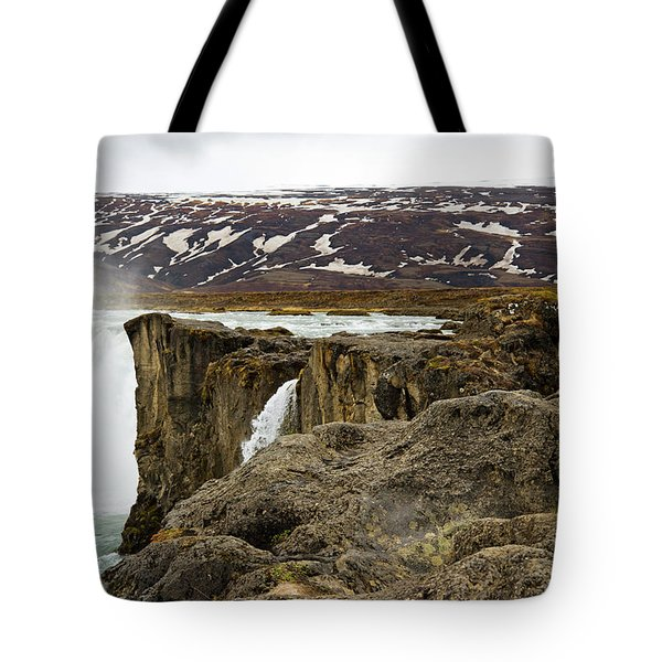 Woman Standing On Rock And Watching Tote Bag
