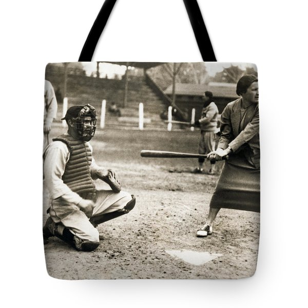 Woman Tennis Star At Bat Tote Bag by Underwood Archives
