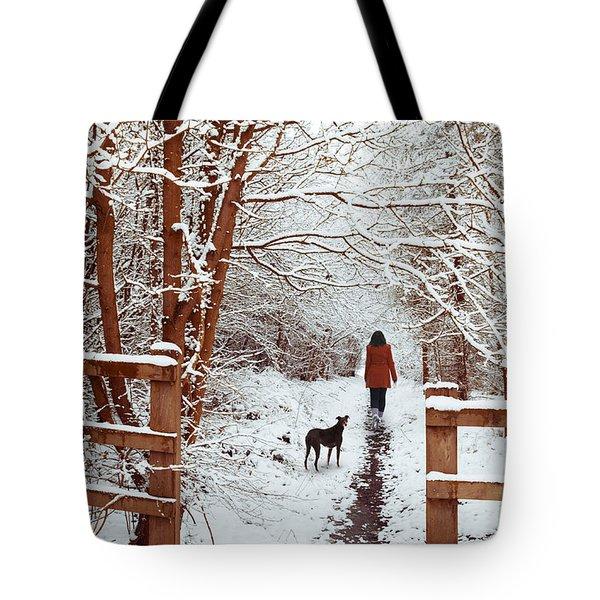 Woman Walking Dog Tote Bag