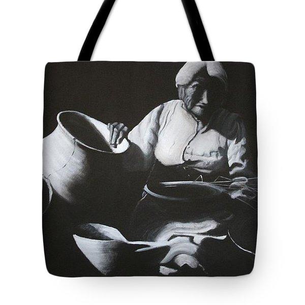 Woman Weaving A Basket Tote Bag