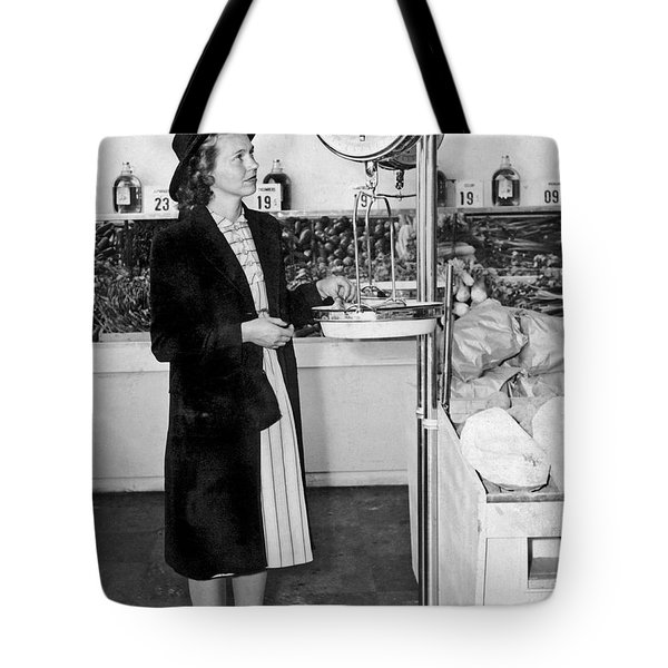Woman Weighing Vegetables Tote Bag by Underwood Archives
