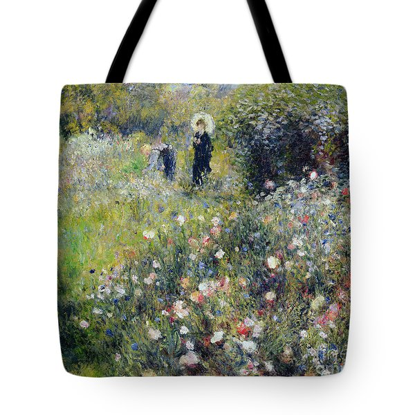 Woman With A Parasol In A Garden, 1875 Tote Bag