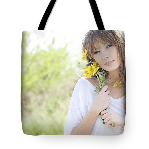 Woman With Flowers Tote Bag by Brandon Tabiolo