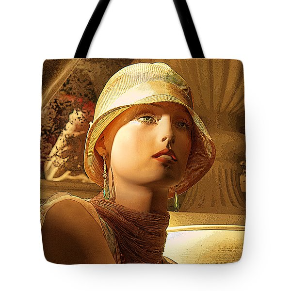 Woman With Hat Tote Bag