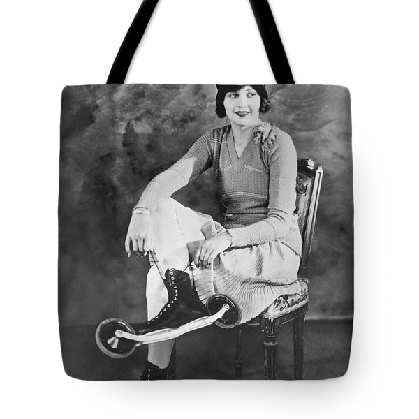 Woman With Her Bicycle Skates Tote Bag